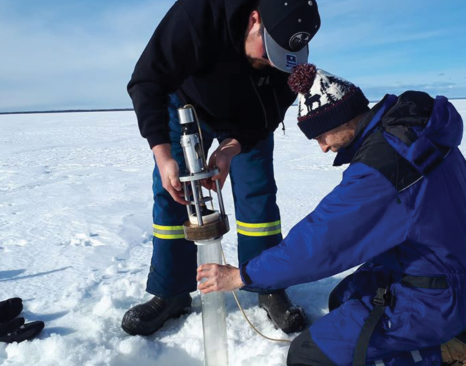 Lake sediment testing for hazardous particles in Slave Lake
